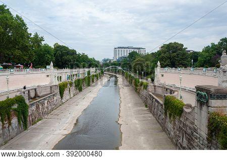 Vienna, Austria - August 02, 2019: Wien River In Vienna City Park, Summer Time