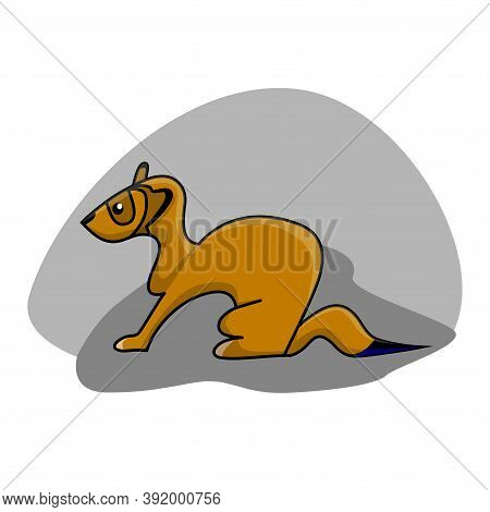 Red Ferret On Grey Background In Cartoon Style