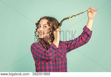 Hair Care For Child. Little Woman Grooming With Hair Roller. Beauty And Fashion. Small Girl Has Hair