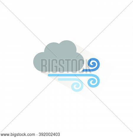 Strong Wind And Cloud. Isolated Color Icon. Weather Glyph Vector Illustration