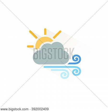 Strong Wind, Sun And Cloud. Isolated Color Icon. Weather Glyph Vector Illustration