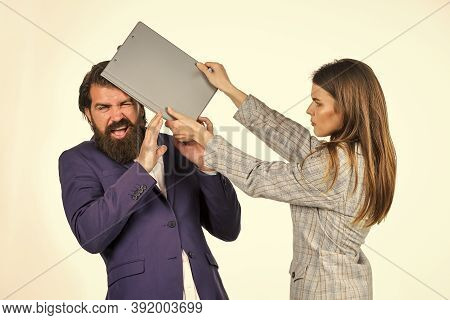 Conflict And Rivalry. Risky Contract. Man And Woman With Office Document. Business Concept. Successf