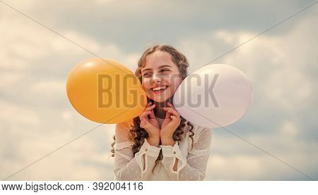 Cheerful Child Have Fun. Happy Birthday Party. Small Girl With Party Balloon. Summer Holidays And Va