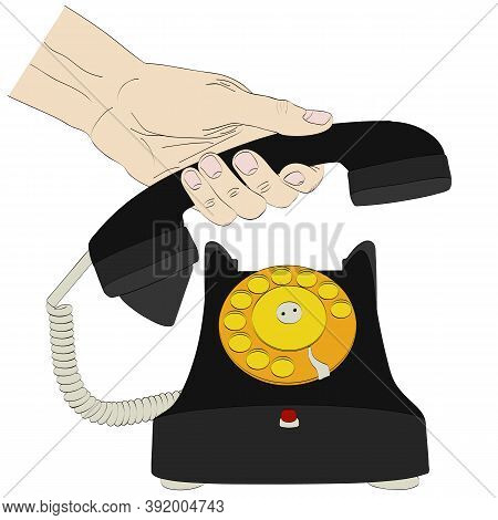 Isolated Silhouette Of Hand Holding Handset Of Old Telephone