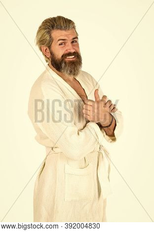 Relaxing At Home. Man In Terry Bathrobe In The Bathroom. Mature Man Wear Bathrobe Relaxing At Spa. C