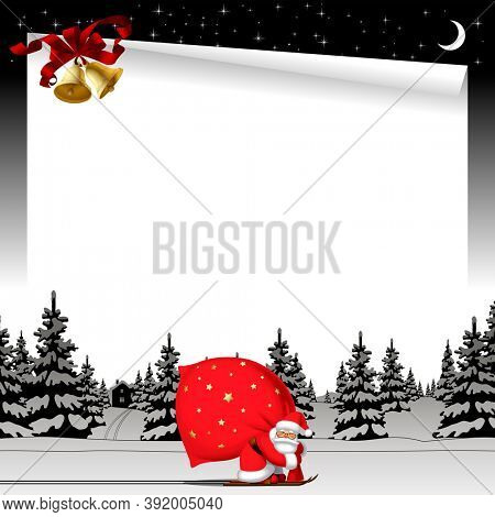 Christmas and New Year web page and greeting letter template with Santa Claus by ski carrying a big red sack against the black and white winter spruce forest in snow and gold bells on the starry sky