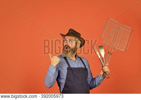 Cooking Meat. Spring Season. Bearded Farmer Wear Hat And Apron For Barbecue. Roasting Meat. Steak An