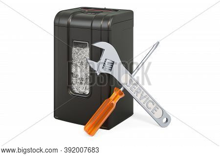 Repair And Service Of Paper Shredder, 3d Rendering Isolated On White Background