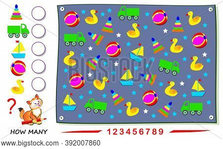 Math Education For Children. Count Quantity Of Toys And Write Numbers. Developing Counting Skills. P