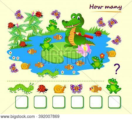 Math Education For Children. Count Quantity Of Animals Around Crocodile On The Lake And Write Number