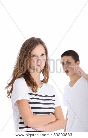 Teenage Brother And Sister Arguing