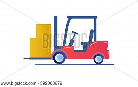 Forklift Truck Isolated On White Background. Industrial Forklift For Branding And Advertising. Trans