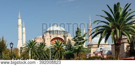 View Of The Hagia Sophia Grand Mosque On A Sunny Autumn Day. Sultanahmet Neighbourhood, City Of Ista