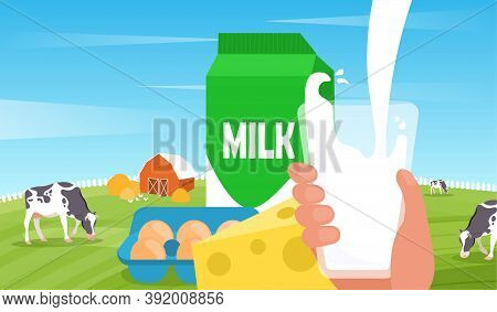 Concept Of Organic Products. Milk Pouring With Splashing In Glass. Cow And Chicken Grazing On Green