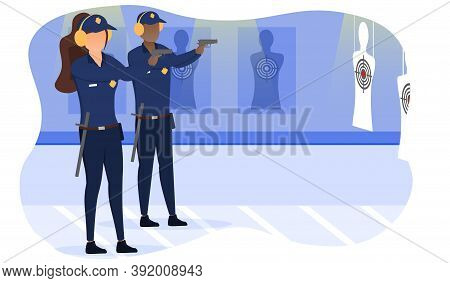 Diverse Multiracial Policemen Training Shooting Targets In Shooting Range. Man And Woman In Uniform