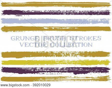 Long Ink Brush Strokes Isolated Design Elements. Set Of Paint Lines. Urban Stripes, Textured Paintbr