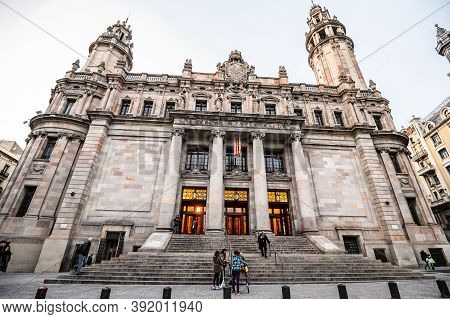 Main Post Office Building. Plaza De Antonio Lopez Close To The Main Street Via Laietana In The Born.