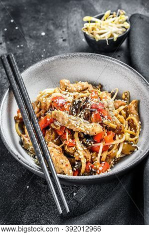 Chicken Stir-fry. Wok Udon Noodles. Traditional Asian Food. Black Background. Top View