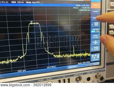 Radio Frequency Data Transmission Channel Spectrum Analysis In Professional Spectrum Analyzer Lcd Sc