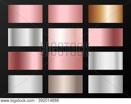 Silver, Platinum, Copper, Bronze, Pink Gold Gradients. Metallic Foil Texture Silver, Steel, Chrome G