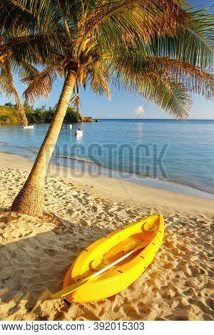 Sea Kayak On The Beach Near Palm Tree, Nacula Island, Yasawas, Fiji