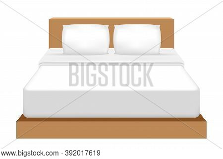 Double Bed, Bed And Double Pillow Isolated On White, 3d Illustration Bed For Clip Art, Mattress And