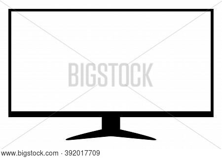 Tv Lcd Wide Screen Isolated On White, Blank Screen Display Flat Television Digital, Modern Televisio