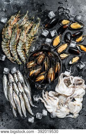 Assorted Set Of Fresh Seafood Tiger Prawns, Shrimps, Blue Mussels, Octopuses, Sardines, Smelt. Black