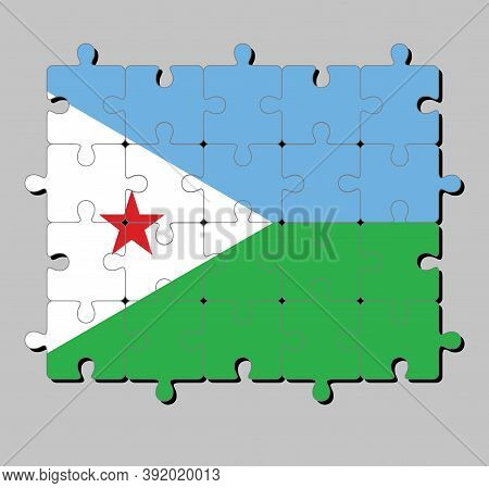 Jigsaw Puzzle Of Djibouti Flag In A Horizontal Light Blue And Light Green With A White Triangle At T