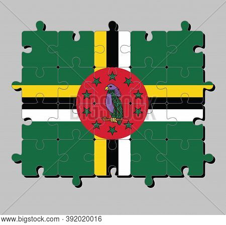 Jigsaw Puzzle Of Dominica Flag In A Green Field With Cross Of Yellow, Black And White, Sisserou Parr
