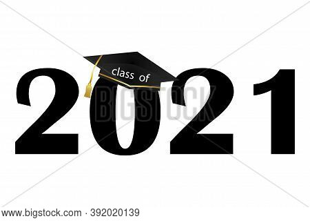 Vector Icon Class Off 2021. Graduation Card With Graduate Cap. Template For Graduation. Stock Image.