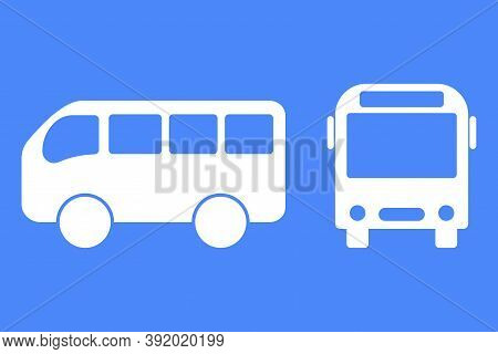 Bus Vector Icon. Bus Stop Symbol. Silhouette Of School Transport. Front And Side Of The Bus. Stock I