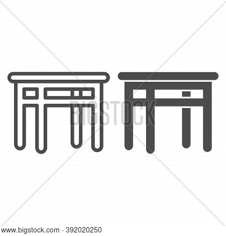 Dining Table Line And Solid Icon, Kitchen Interior Concept, Furniture For Dining Room Sign On White