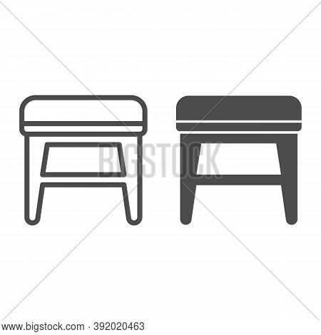 Stool Line And Solid Icon, Furniture Concept, Soft Backless Seat Sign On White Background, Stool Wit