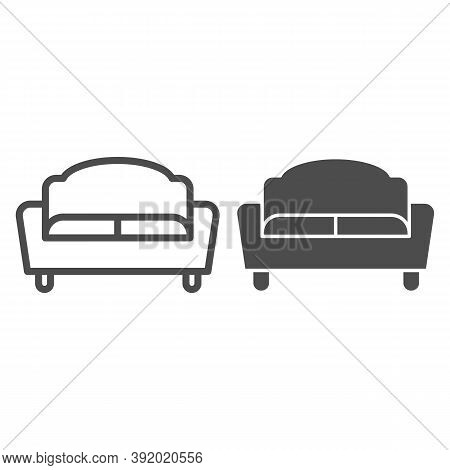 Sofa Line And Solid Icon, Furniture Concept, Couch Sign On White Background, Divan For Living Room I