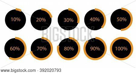 Vector Set Of Circular Progress Bars. Percentage Infographic Icons. Orange Bootloaders. Step By Step