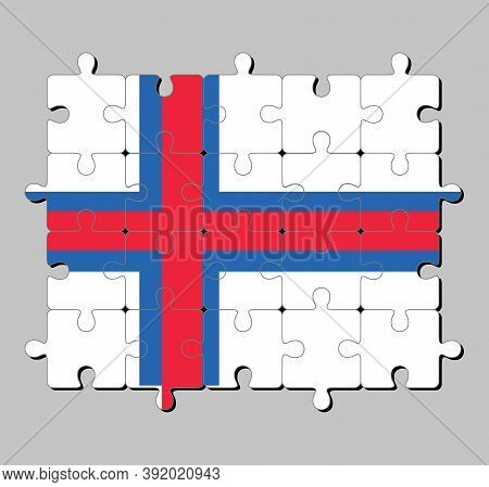 Jigsaw Puzzle Of Faroe Islands Flag In A Blue-fimbriated Red Nordic Cross On A White Field. Concept