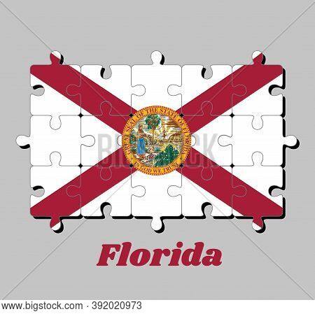 Jigsaw Puzzle Of Florida Flag, With The State Seal Superimposed On The Center. The States Of America