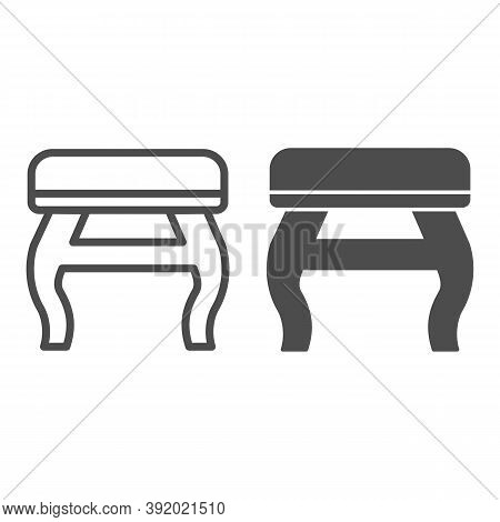 Retro Stool Line And Solid Icon, Furniture Concept, Retro Pouf With Legs Sign On White Background, W