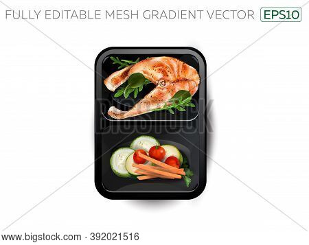 Steamed Fish With Vegetables In A Lunchbox.