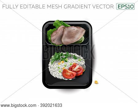 Boiled Meat With Rice And Vegetables In A Lunchbox.