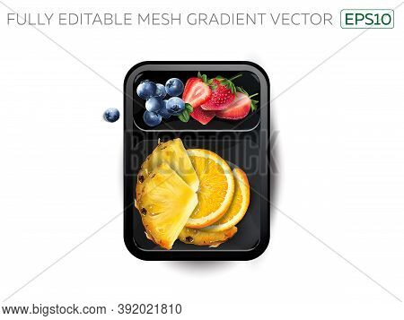 Strawberries, Blueberries, Orange And Pineapple In A Lunchbox.