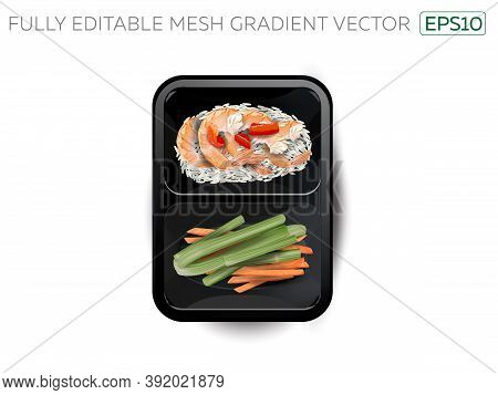 Shrimps With Rice And Vegetables In A Lunchbox.