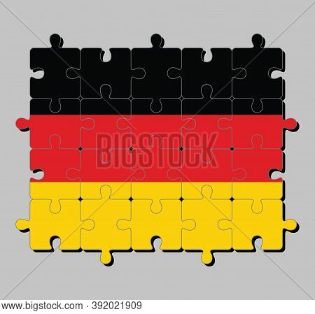 Jigsaw Puzzle Of Germany Flag In The Black Red And Yellow Color. Concept Of Fulfillment Or Perfectio