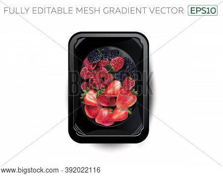 Blackberries, Raspberries And Strawberries In A Lunchbox.
