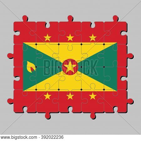 Jigsaw Puzzle Of Grenada Flag In Red Border With Six Gold Star, Gold And Green Triangles With Red Di