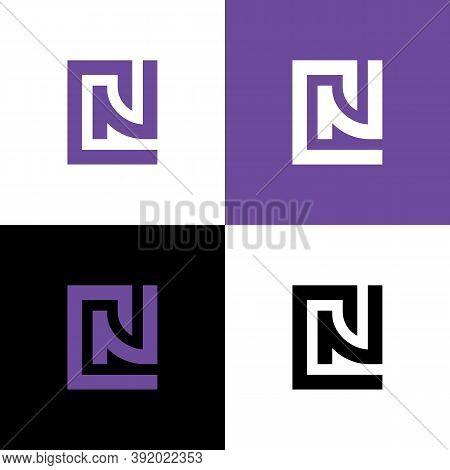 Alphabet Letter Cn Nc Logo Concept, Square Shape Monogram Design - Vector