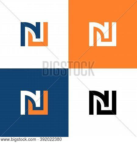 Initial Letter Nj Jn Logo Icon Design Template Elements, Creative Square Shape Typography, Vector Il
