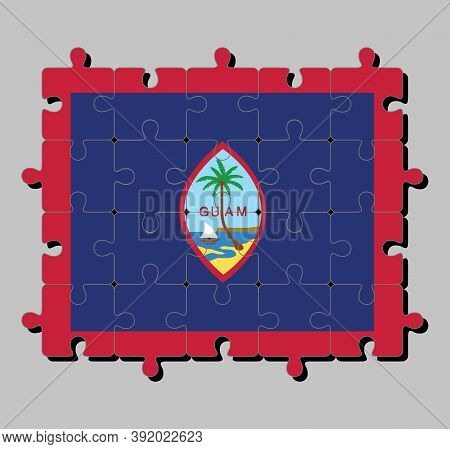 Jigsaw Puzzle Of Guam Flag In Dark Blue Background With A Thin Red Border And The Seal Of Guam. Conc