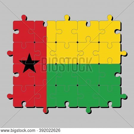 Jigsaw Puzzle Of Guinea Bissau Flag In Vertical Red Line With Black Star Two Horizontal Yellow And G